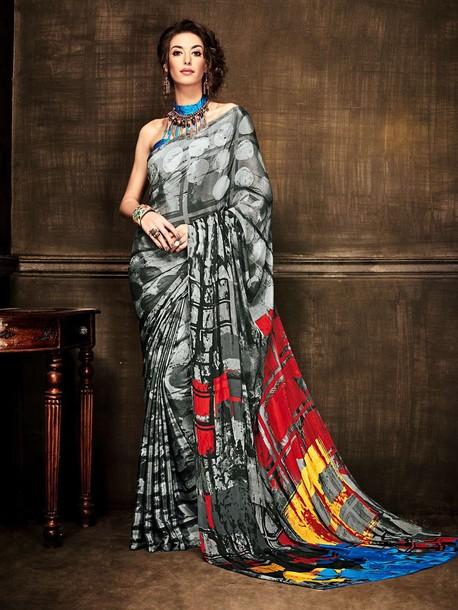 blouse digital printed saree casual saree online buy saree online ethnic wear usa