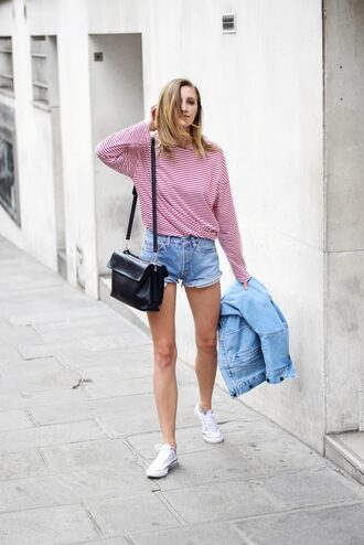 top shorts sneakers tumblr red top stripes striped top denim denim shorts bag black bag white sneakers converse jacket shoes
