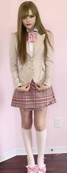 jacket blazer school girl school uniform khaki beige beige jacket kawaii kawaii outfit knee high socks white pink pastel pink girly cute cute outfits office