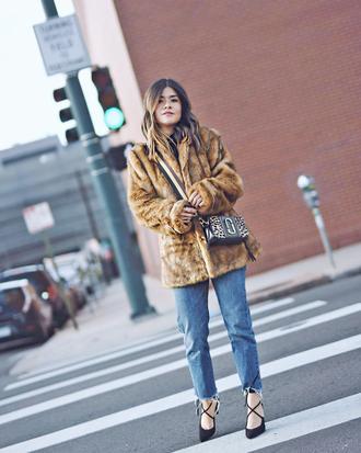 coat tumblr fur coat denim jeans blue jeans shoes pumps bag crossbody bag