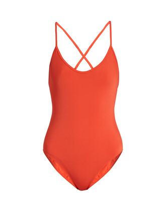cross back red swimwear