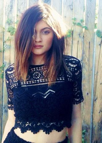 blouse kylie jenner lace black shirt black lace shirt