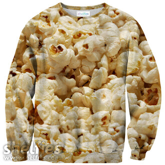 popcorn food shelfies printed sweater