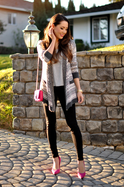 hapa time blogger cardigan top leggings bag shoes