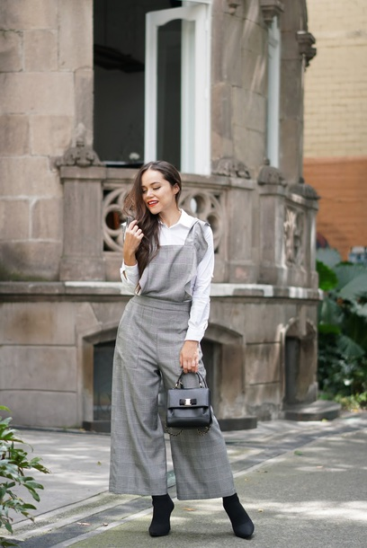 jumpsuit tumblr grey jumpsuit plaid plaid pants boots black boots shirt white shirt bag