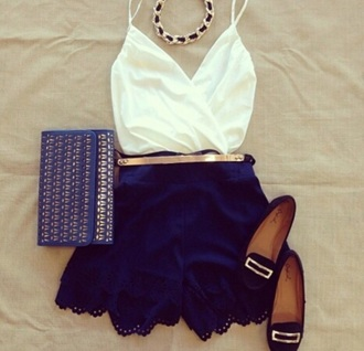 shorts blue blue shorts marine marine shorts lace shoes top
