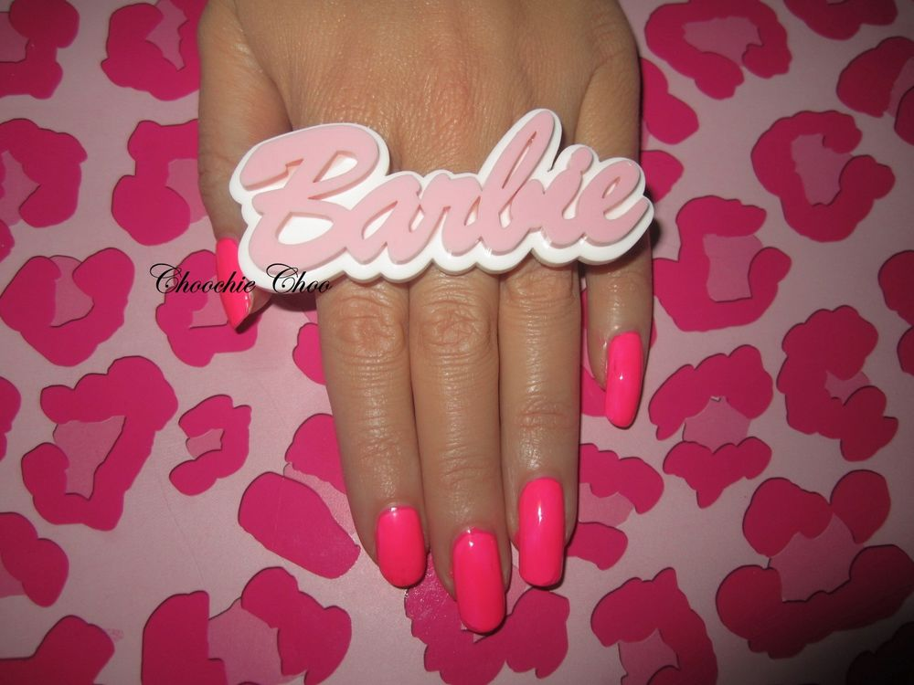 Barbie Baby Pink White Acrylic Big Huge Name Word Adjustable Ring Choochie Choo | eBay