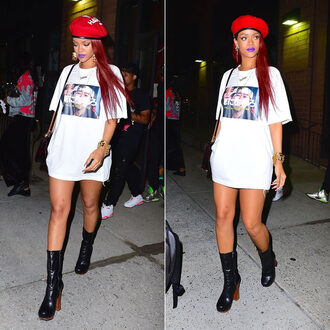 t-shirt top rihanna boots hat shoes t-shirt dress