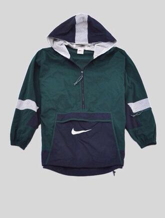coat nike green hood pocket nike jacket