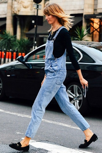le fashion blogger denim overalls loafers black top hipster shoes