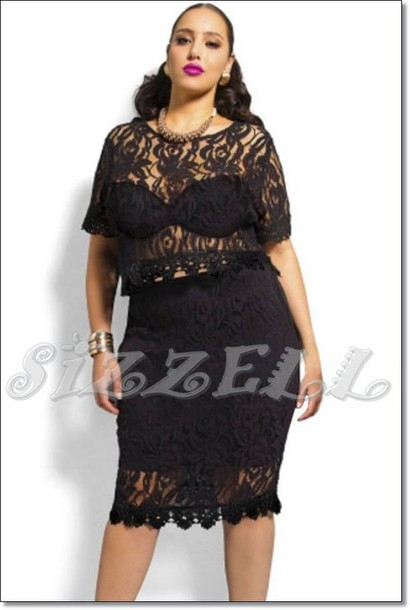 faf6f11a0 top, dress, skirt, crop tops, curvy, plus size, black, lace dress ...