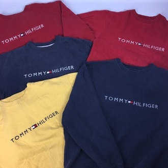 sweater tommy hilfiger yellow blue red vintage tommy hilfiger