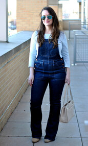 currentlycoveting,blogger,t-shirt,sunglasses,jewels,shoes,bag,denim overalls,overalls,beige bag,spring outfits