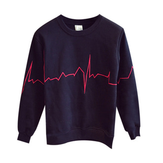 sweater black red ecg line heartbeat embroidered sweatshirt pullover jumper fashion streetstyle streetwear