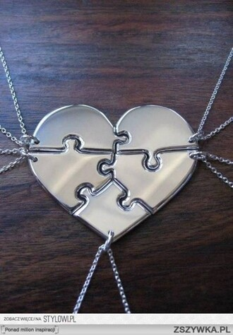 jewels necklace one direction heart puzzle harry styles zayn malik niall horan louis tomlinson liam payne silver