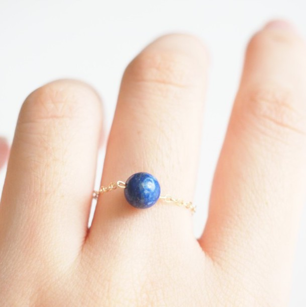 Jewels Summer Handcraft Stone Ring Simple Rings Unique Vintage Elegant Cool Lapis