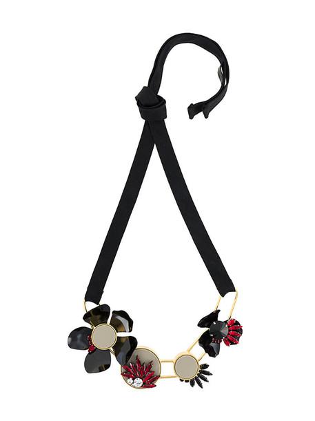 women geometric necklace leather cotton black jewels