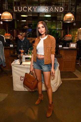 jacket camel suede suede jacket ankle boots olivia culpo shorts denim shorts crop tops spring outfits