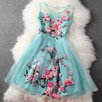 dress blue dress cherry blossom floral fancy