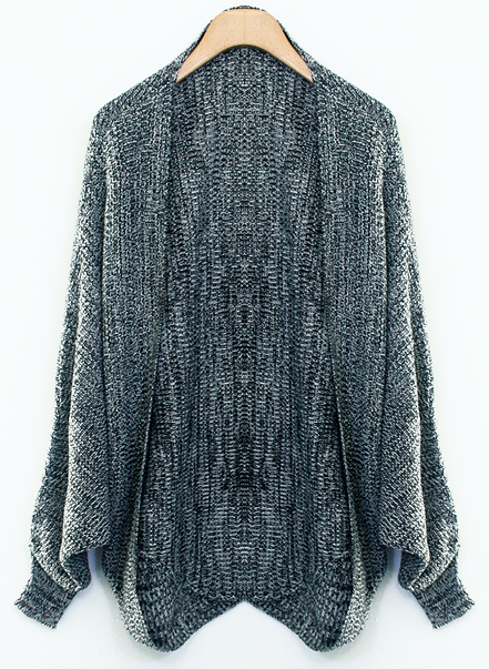 Dark grey batwing long sleeve knit cardigan for women from happyday on storenvy