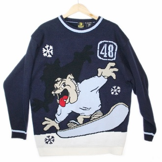 sweater snowboard crewneck snowflake winter sports dog