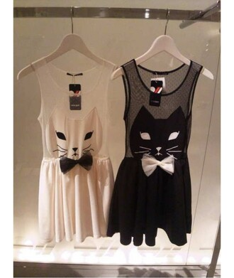 dress cats cat dress bow bow dress black dress white white dress little black dress black black and white black and white dress sheer mesh