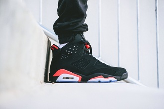 shoes black cute infrared 6s red jordans sneakers dope style cool swag mens shoes