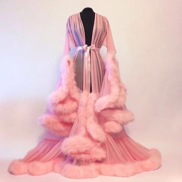 c6275577b796 pajamas pink robe nightwear nightie fluffy beyonce tumblr cute underwear  sexy pink lingerie fancy coat fur