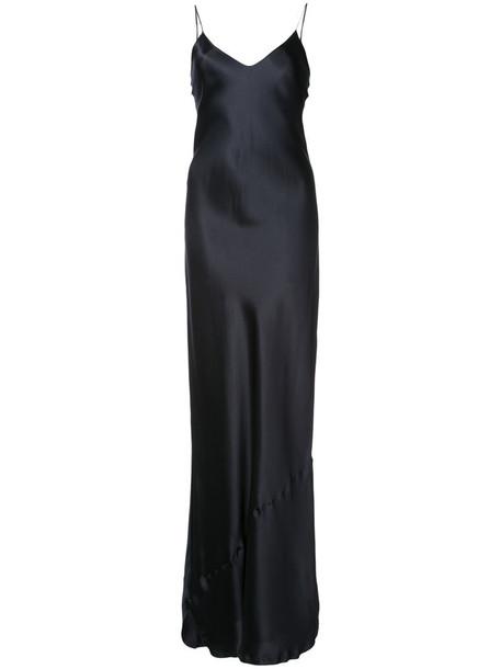 dress slip dress women blue silk