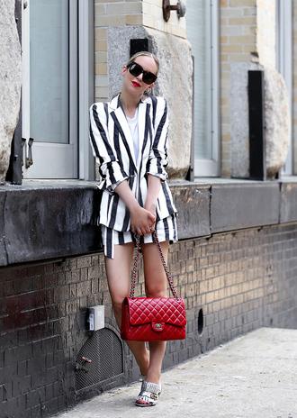 jacket tumblr stripes blazer bag red bag shorts striped shorts sunglasses sandals sandal heels high heel sandals matching set shoes