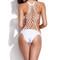White one-piece swimwear with handmade lattice back | emprada