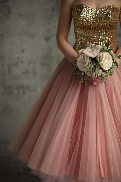 Chiffon dress rose gold