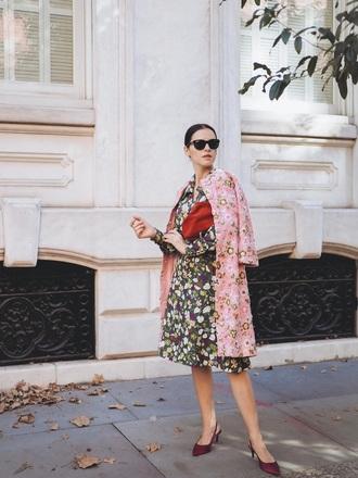 coat pink coat floral coat floral shoes red shoes slingbscks floral dress feminine