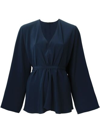blouse v neck v neck blouse navy navy blouse long sleeves
