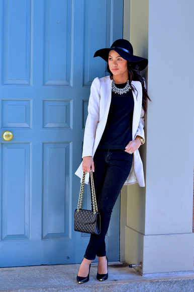 blogger jacket bag fall outfits top jewels loso fancy felt hat statement necklace