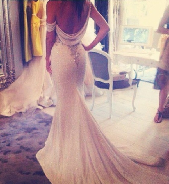 Dress Bridal Gown Glitter Open Back Dresses White Beautiful Green