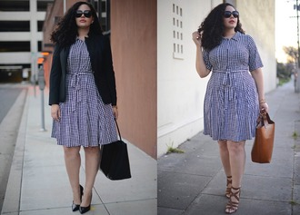 girl with curves blogger plus size dress spring dress dress jacket bag jewels sunglasses shoes make-up