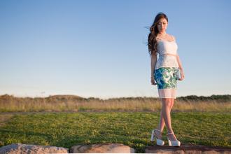jewels top bag crop tops blogger metallic paws floral skirt pencil skirt pumps
