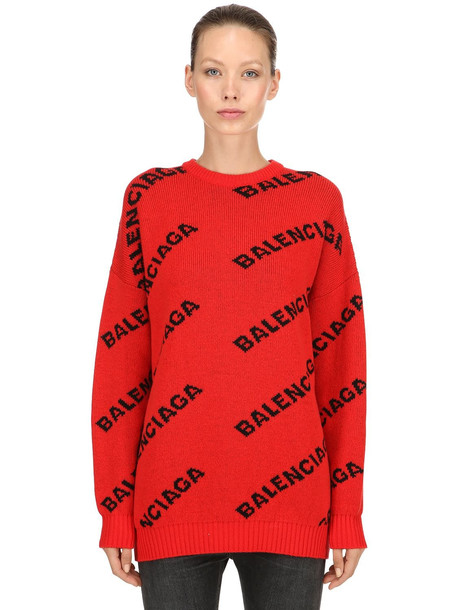 BALENCIAGA Logo Intarsia Wool Sweater in red