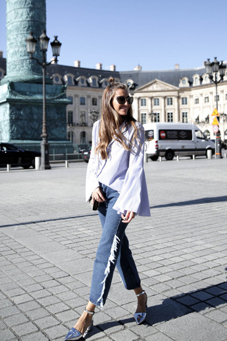 b a r t a b a c blogger top jeans shoes bag sunglasses mid heel pumps bell sleeves metallic shoes tumblr blue jeans denim cropped jeans shirt white shirt silver shoes silver