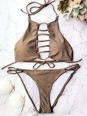 swimwear,cute,beach,fashion,style,summer,brown,zaful