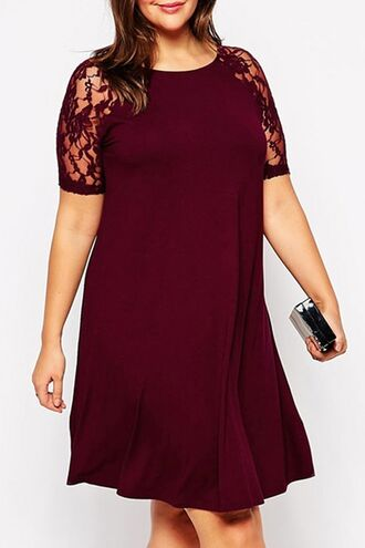 dress plus size curvy plus size dress lace lace dress burgundy red dress wine red zaful casual casual dress