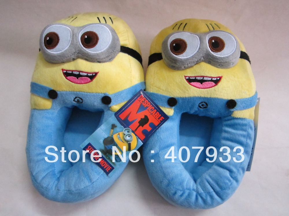 Despicable Me  Slippers  1pair 11'' Minions Plush Stuffed Cuddly Fluffy Collectible Jorge-in Slippers from Shoes on Aliexpress.com