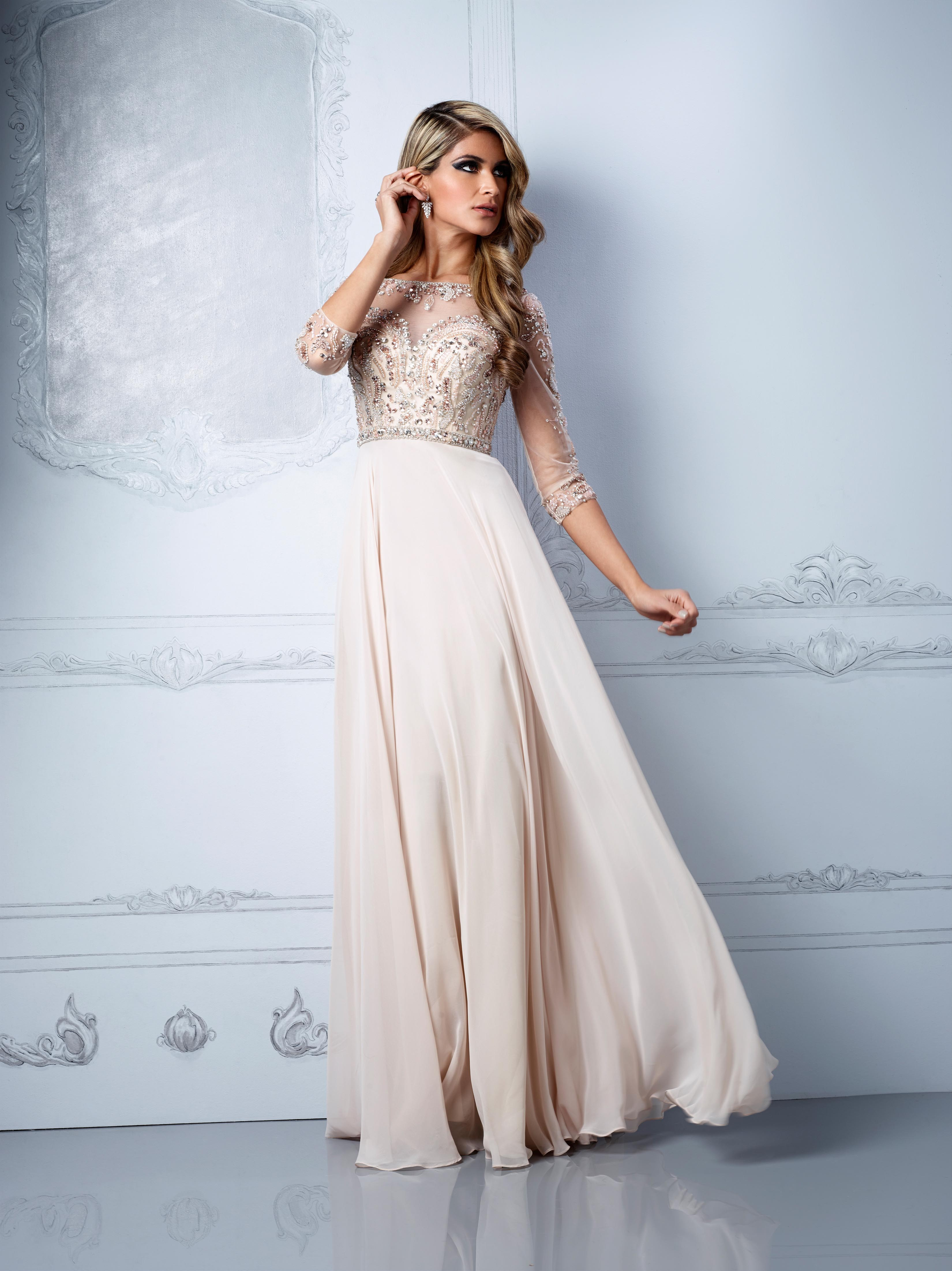 A-line Chiffon,Tulle Scoop Natural Waist Floor-Length Keyhole Back Prom Dress - Angelpromdress.co.uk