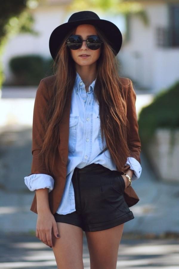 shorts black shorts blazer button up hat sunglasses brown sunglasses t-shirt jacket