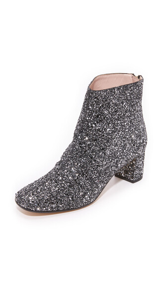 glitter booties silver black shoes