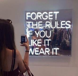 mirror lights quote on it furniture home decor new years resolution neon light home furniture phone cover clothes like reflection forget rules neon sign mirrorbox light home accessory housewares house accessories accessory affordable office furniture hippie wall hanging