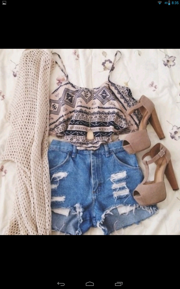 cardigan blouse shoes