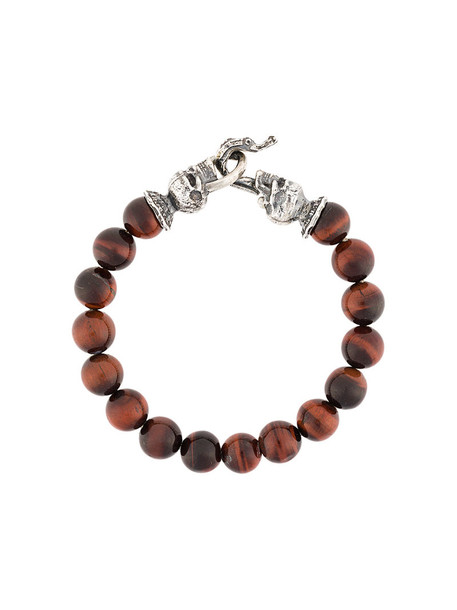 beaded bracelet skull women beaded silver brown jewels