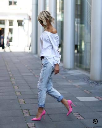 jeans tumblr embellished embellished denim embellished jeans pumps pointed toe pumps top white top off the shoulder off the shoulder top